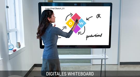 Eine Frau zeichnet eine Skizze mit der Whiteboard-Funktion von Cisco Webex